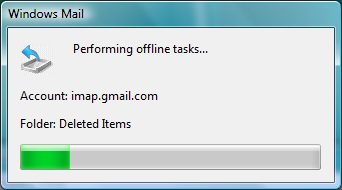 Windows Mail Performing offline tasks...
