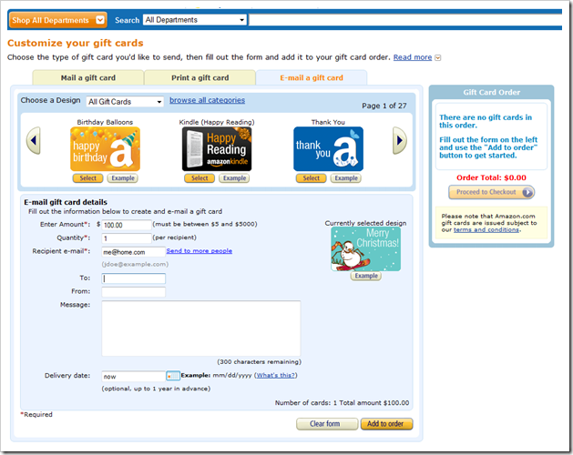 Ordering gift card on Amazon