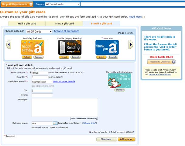Ordering Gift Card On Amazon